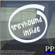 1 x Greyhound Inside-Window,Car,Van,Sticker,Sign,Adhesive,Dog,Pet,On,Board